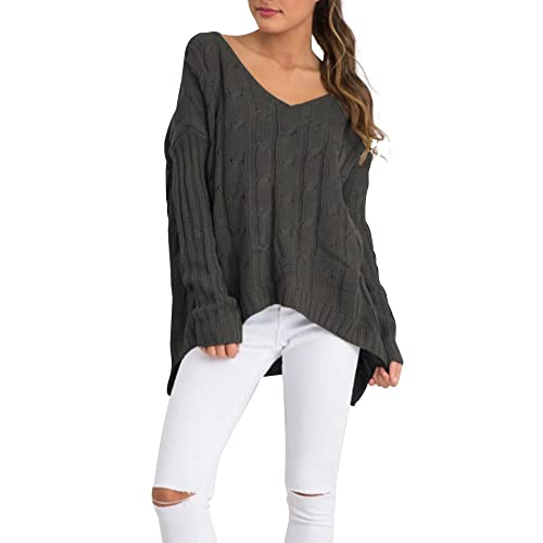 Simplee Apparel Women s Loose Long Sleeve Cross Back Cable Ribbed Knit  Sweater acbbb55b9