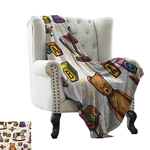 LsWOW Weighted Blanket for Kids Vintage,Retro Style Kids Toys Rocking Horse Teddy Bear and Bird Illustration Print, Brown and Grey Extra Cozy, Machine Washable, Comfortable Home Decor 60'x78'