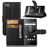 Sony Xperia Z5 Compact 手帳型ケース カバー 手帳 PU レザー 携帯 保護 ケース カード収納 ホルダー 付き 横置き スタンド機能 マグネット式 スマホ ケース docomo SO-02H (ブラック)
