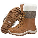 CAMEL CROWN Women's Winter Snow Boots Fashion Mid Calf Boot Faux Fur Lined Warm Lace-up Booties for Outdoor Ski 10