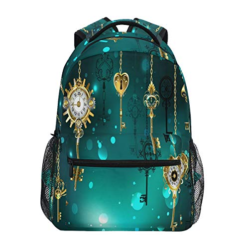 Rucksäcke College Schultasche Antik Schlüssel Gear Zifferblatt Gold Kette Büchertaschen für Kinder Teenager Schulter Casual Reisen Daypack