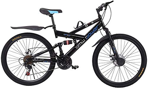 Outroad Adult Mountain Bikes, 26in Carbon Steel Mountain Bike Shimanos21 Speed Bicycle Full Suspension MTB (Black)