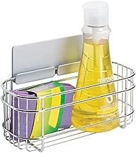 mDesign scaffale a muro AFFIXX porta sacchetti plastica – porta spugne autoadesivo per spugne, detersivi, e altri oggetti da cucina – Colore: metallo