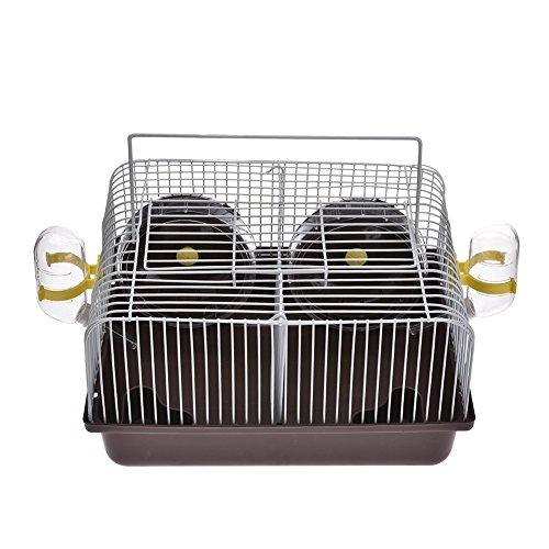 Hamsters Portátil Jaula Pequeña de Plástico con Botella de Agua Integrada Playing Wheel Outdoor Travelling Carrier para Pequeños Animales
