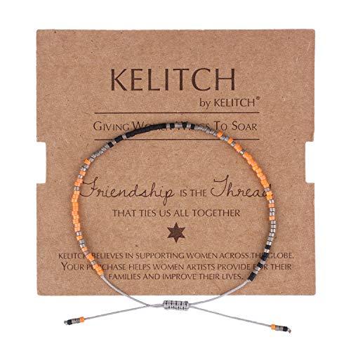 Kelitch, Braccialetto dell'amicizia con perline Miyuki, stile stravagante, estivo, per la spiaggia (colore: bianco N) e Corda, colore: Arancione misto., cod. AZBT055
