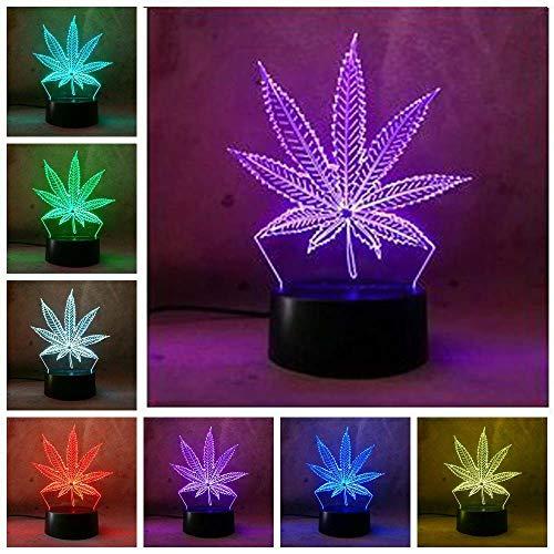 Lámpara de mesa de noche con diseño de hojas de arce 3D, USB, 7 colores, para decoración del hogar, Navidad, Acción de Gracias, regalo de cumpleañ
