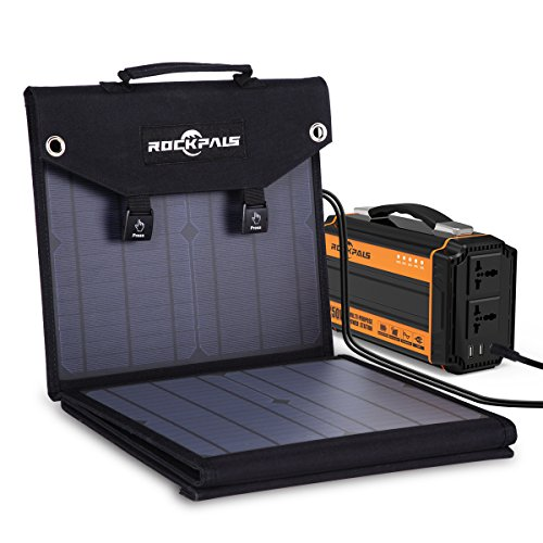 ROCKPALS 250W Portable Power Station and ROCKPALS 60W Solar Panel, Great Solar Generator for Backup Power, Outdoor Adventure and Camping