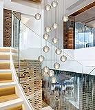 16 Lights LED Modern Chandeliers 118' High Ceiling Chandeliers Pendant Light Fixtures Bubble Crystal Raindrop Chandeliers Lamparas Modernas Foyer Chandeliers Lighting,Warm Light LED Bulbs
