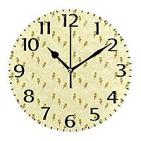 10インチの丸い壁時計、壁の装飾アイスクリームサイレント非カチカチ時計、リビングルームホームオフィス用の電池式の読みやすい時計