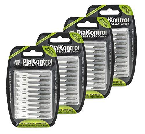 Scovolini PlakKontrol Brush & Clean Carbon Whitening - 160 Scovolini monouso con astuccio da viaggio