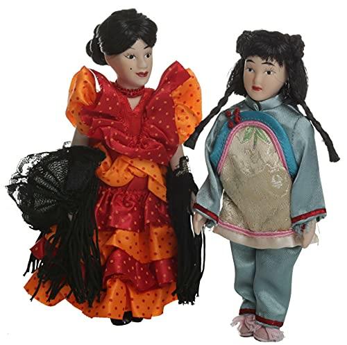 Juego de 2 muñecos chinos de porcelana, bailarina flamenca española y geisha niña 15 cm