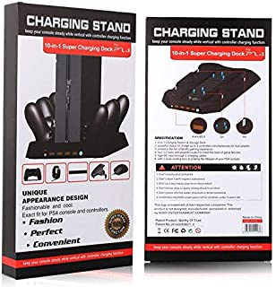 Charging Dock w/cooling fan and 4 Charger Controller and 4 usb ports, 10-in-1 multi-functional units of the PlayStation 4