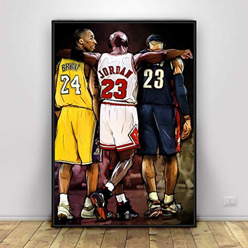 Kobe Bryant Michael Jordan Lebron James Basketball Kunst Leinwand Poster Zuhause Wand Dekor Painting
