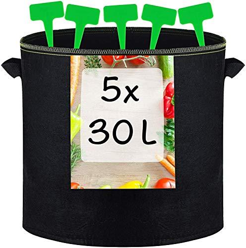 5 Sacos para Plantas de 30L de Tela no Tejida con Asas - Con 5 Etiquetas - Bolsas para Plantas, Verduras y Hortalizas