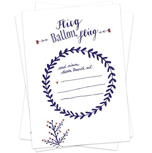 Eine der Guten 50 Ballonflugkarten - Flieg Ballon, flieg - für Hochzeit, Geburtstag, Taufe, Kommunion, Partyspiel mit Ballonkarten, blau weißes Design, extra leicht, 170g Recyclingpapier, Co2 neutral