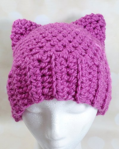 Pussy cat hat project - ADULT SIZE - PINK - Handmade by Jenny's Crafting Corner in the US