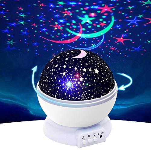 Foco giratorio de luz nocturna LED estrellada romántica para niños, amigos, amantes de regalo, 4 colores de luz giratoria de 360 grados, iluminación de dormitorio, decorado con USB (blanco)