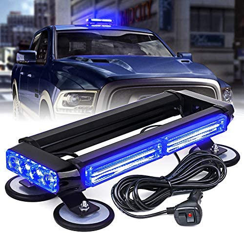 Xprite Blue COB LED Strobe Rooftop Flashing Light Bar w Magnetic Base Double Side Hazard Warning product image