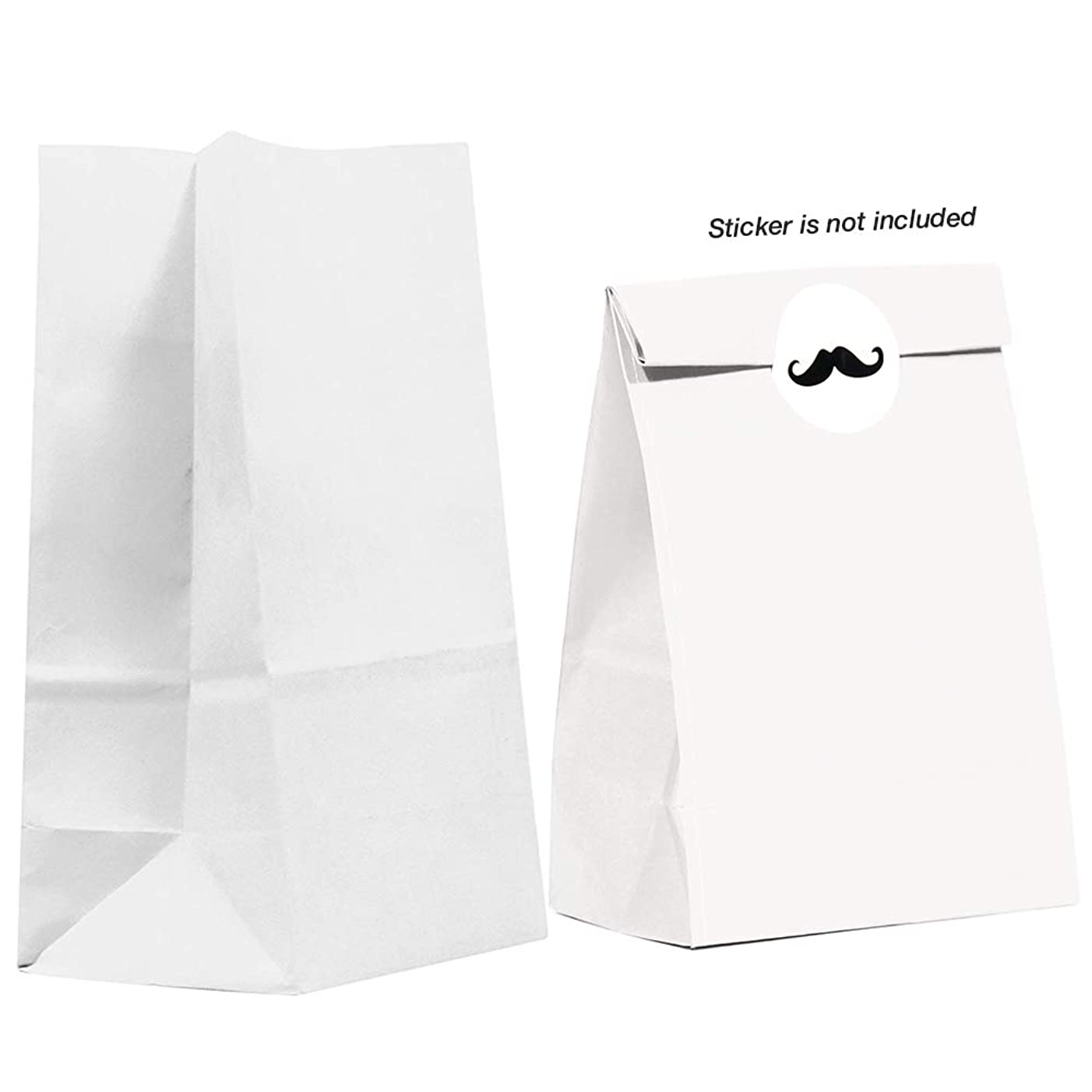 40CT Biodegradable, Premium Quality Paper (Thicker), Paper Bag, Kraft Paper Sack, Goody Bags, Treat Sacks, Perfect for Party Filled with Small Favors (Small, White)