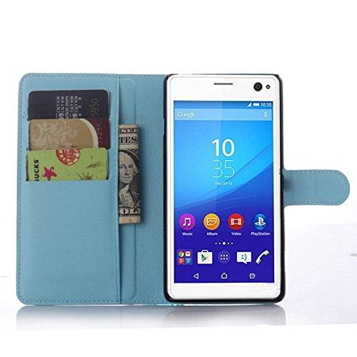 Ycloud Tasche für Sony Xperia C4 Hülle, PU Ledertasche Flip Cover Wallet Hülle Handyhülle mit Stand Function Credit Card Slots Bookstyle Purse Design blau