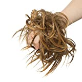 Moño Postizo Rizado Voluminoso Pelo Sintético Se Ve Natural Recogido Coletero Peinado Extensiones de Cabello Coleta Postiza Elegante para Mujer (Castaño Oscuro/Rubio Dorado,45g)
