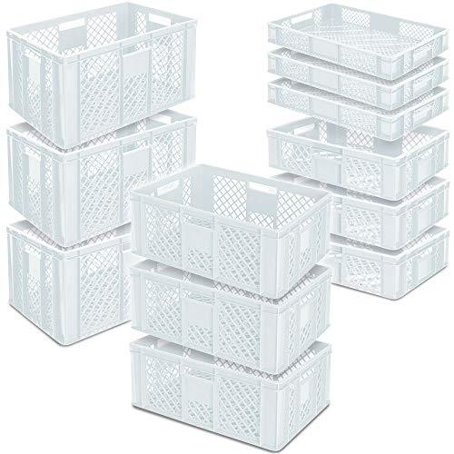 12x Stapelkorb/Bäckerkisten in 4 Größen, Grundmaß LxB 600 x 400 mm, H 90 mm, 150 mm, 240 mm, 320 mm, weiß