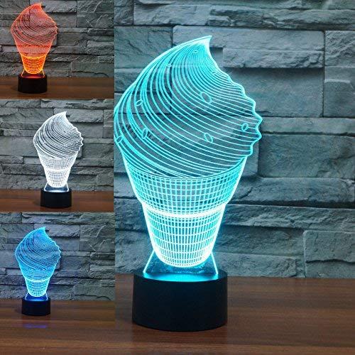 NIUBB 3D Helado de la luz de la noche de la lámpara de 7 colores de cambio de LED táctil USB de la mesa de regalo de los niños juguetes de decoración de Navidad, San Valentín, regalo de cumpleaños
