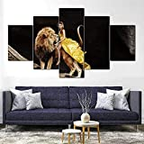 Lienzo de mujer y león, 5 piezas, lienzo impreso, moderno, de alta definición, modular, cuadro, pintura, impresión en lienzo para decoración de sala de estar, 200Cm × 100Cm, enmarcado