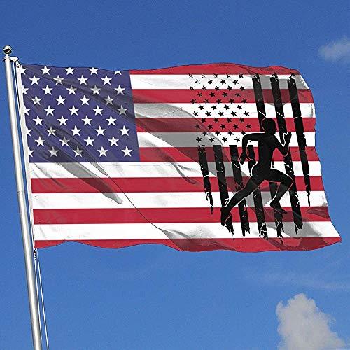 ALLdelete# Flags Running Sprinter Bandiera Americana Paese Banner Bandiera Home Garden Decor Giardino Home Flag 3 X5 Piedi Bandiera della casa