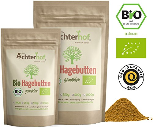 Bio Hagebuttenpulver (500g)   ganze Hagebutte gemahlen   100{b699094a81cb9b1b0c228fecc41300c2e22dcf084f61d150078ae8ee5c76dfc8} ECHTES Bio Hagebutten Pulver in Rohkostqualität