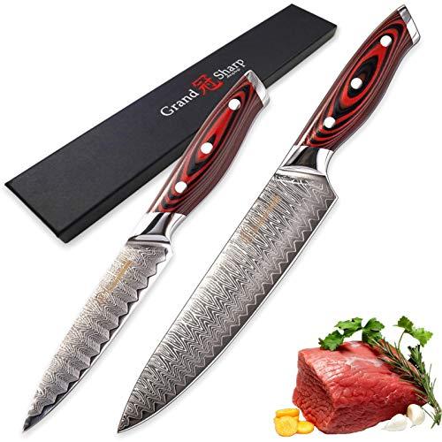 Coltello da cucina Set Chef Utility Damasco Coltelli VG10 Giapponese Damasco in acciaio Acciaio Miglioramento della casa Gadget Gadget Giapponese Coltelli giapponesi Nuovo coltello per la cottura