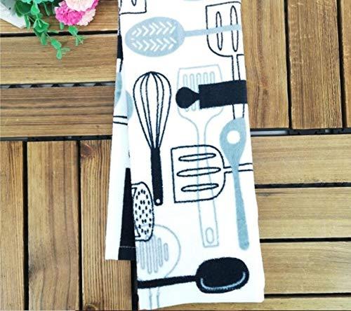 LinZhe 5 unids/Paquete de algodón Impreso Cocina Plato Toalla Toallas Toallas de Toalla de Mano de servilleta 40x65 cm