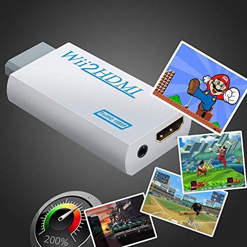 Convertitore da Wii a HDMI Adattatore Wii a HDMI 720P 1080P con Porta HDMI e Jack 3.5mm HDMI PER TV - Bianco
