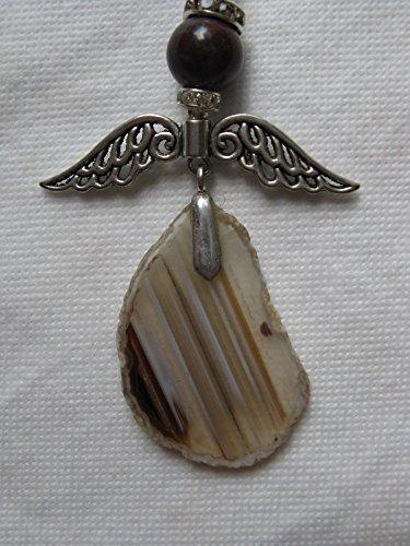 Natural mente – Collier, longue, pierre naturelle, agate, collier, chaîne, Ange, Ange gardien, fabriqué à la main. N ° 979
