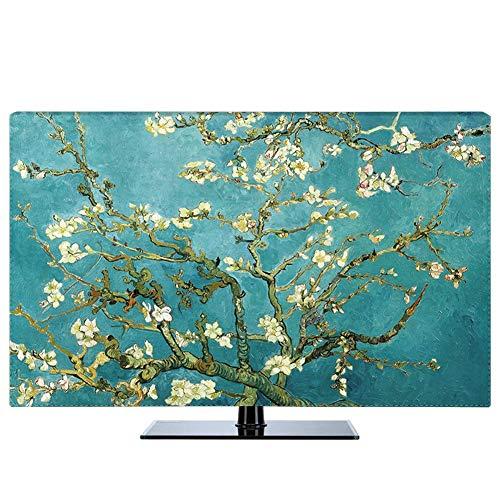 NANKAN Hülle Bezug für Fernsehen Schutzhülle für TV & Monitor 22 Bis 80 Zoll für LCD, LED, Indoor Helles Ölgemälde Muster Anti-Staub Polyester Staubschutz TV-Abdeckung (Color : Green, Size : 55in)
