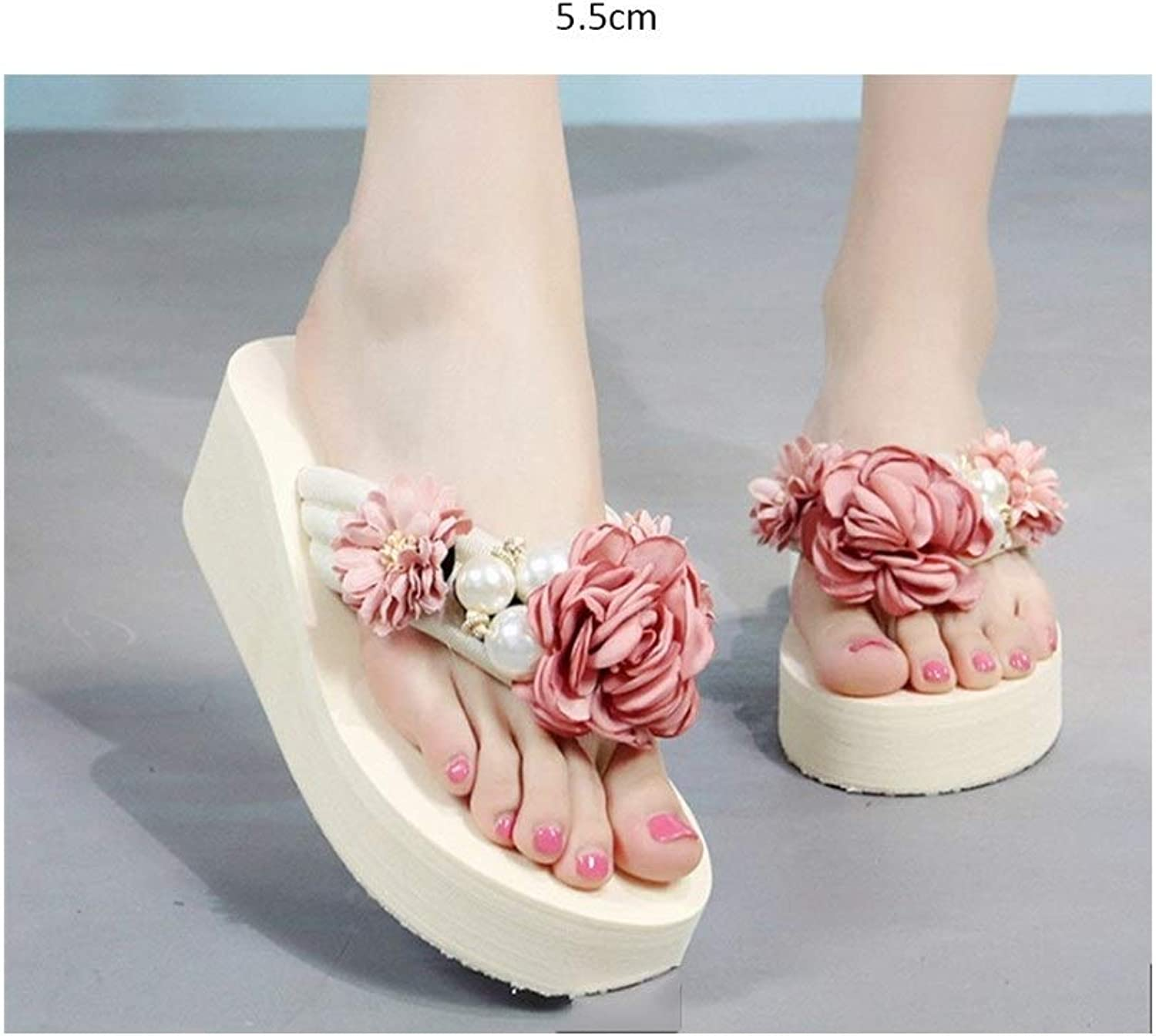 DYFYMX Slope with flip-Flops, Female Summer wear flip Sandals, Fashion Flat Beach shoes. Fashion Pink, Size   36