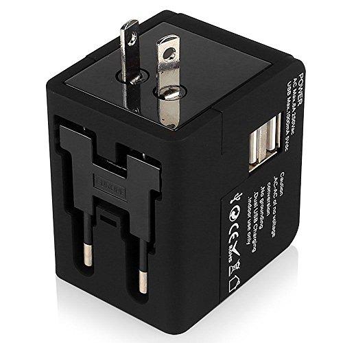 WOVELOT En todo el Mundo Todo en uno Adaptador Cargador de Viaje Universal Enchufe de Potencia AC de Pared con los Puertos de Carga USB Dual para Estados Unidos UE Reino Unido AUS Telefono