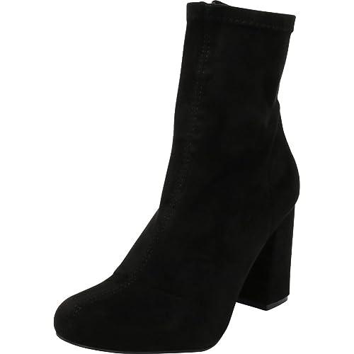 7de4ddd82b70a6 Cambridge Select Women s Closed Round Toe Stretch Sock Fabric Chunky Block  Heel Ankle Bootie