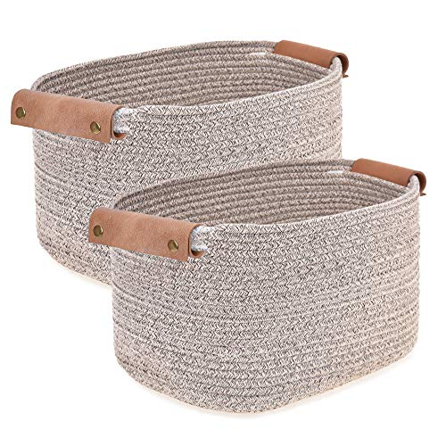 Labcosi Cotton Woven Rope Storage Basket with Leather handles, Nursery Storage Bins and Organizer for Living Room, Bedroom, Closet, Shelves, 2-pack, Brown, 14''L x 11''W x 8''H