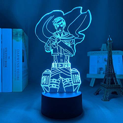 3D Anime Lámpara Ataque a Titán Erwin Smith para Dormitorio Luz Decorativa Niños Regalo de Cumpleaños Led Noche Luz Control Remoto