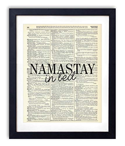Namastay In Bed, Vintage Dictionary Typography Quote Art Print Poster For Home and Bedroom Wall Decor, Yoga and Meditation, Zen Gift Wall Art, 8x10 inches, Unframed