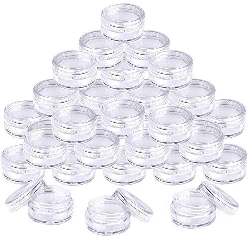5 ml Envase Cosmético Vacío Pequeño Plástico Transparente Puede Olla Cosmética Tarro Vacío Crema de Viaje con Tapa para Crema/Polvo/loción(50 Pcs)