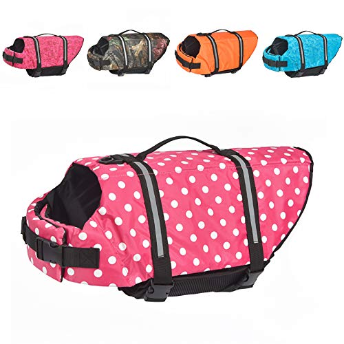 Doglay Dog Life Jacket with Reflective Stripes, Adjustable Dog Lifesaver Pet Life Preserver with High Buoyancy Swimsuit for Small Medium and Large Dogs