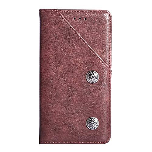 YLYT Rojo De Cuero TPU Silicona Funda para Samsung Galaxy J7 Prime G610F 5.5 Inch Vintage Estuche Plegable Caso Étui Cáscara Protección con Billetera Cover