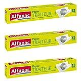 Alfapac - Papel aluminio para alimentos, pack de 3, 12 m
