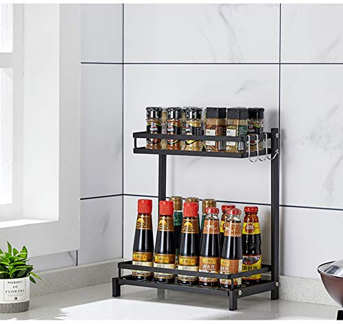 3-Tier Permanente estante de especia Organizador, acero inoxidable encimera de almacenamiento desmontables Latas Botellas Organizador Plataforma titular para el hoga 34 x 20.8 x 60cm