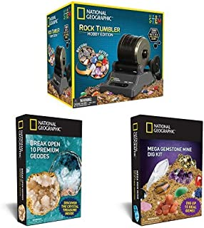 The Ultimate Bundle for Any Rock Lover By National Geographic - Includes Rock Tumbler Kit, 10 Break Your Own Geodes, and a Gemstone Dig Kit!