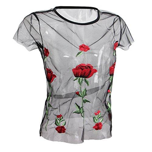 Hellery Frauen Dame Kurzarm Stickerei Blume Sheer Mesh Schwarzes Hemd Bluse Top - Schwarz, L