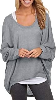 Fanxis Women's Batwing Sleeve Off Shoulder Loose Oversized Baggy Tops Sweater Pullover Casual Blouse T-Shirt