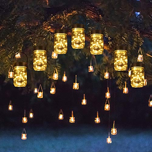 Solpex 30 LEDs Hanging Solar Lights Outdoors, 6 Pack Solar Mason Jar Lid Fairy String Lights for Christmas, Patio, Garden, Yard and Lawn (Hangers and Jars Included)